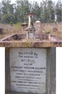 Tombstone & Inscription of Sergeant William Allsopp